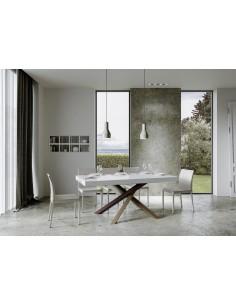Tavolo Volantis Allungabile piano Bianco Lucido 90x160 allungato 264 telaio multicolor