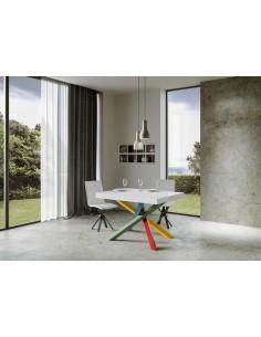 Tavolo Volantis Allungabile piano Bianco Lucido 90x130 allungato 390 telaio multicolor