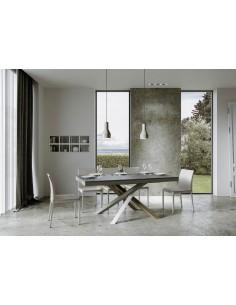Tavolo Volantis Evolution piano Cemento 90x160 allungato 264 telaio multicolor