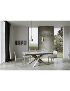 Tavolo Volantis Evolution piano Bianco Frassino 90x120 allungato 380 telaio multicolor