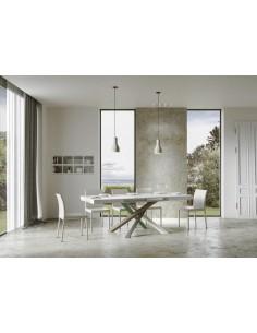 Tavolo Volantis Allungabile piano Cemento 90x160 allungato 264 telaio multicolor