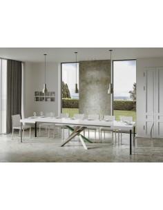 Tavolo Volantis Allungabile piano Bianco Frassino 90x160 allungato 420 telaio multicolor