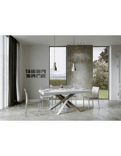 Tavolo Volantis Allungabile piano Bianco Frassino 90x180 allungato 440 telaio multicolor