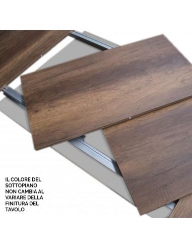 Tavolo Baita allungabile piano quercia 90x180 allungato 440 telaio Antracite