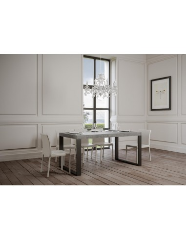 Tavolo Tecno Premium allungabile piano Cemento 90x180 allungato 284 telaio Antracite