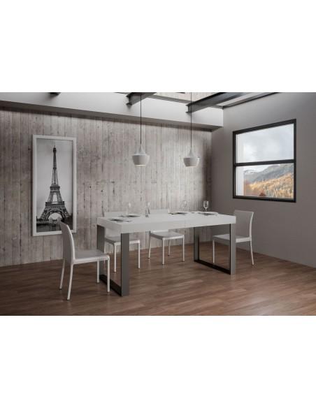 Tavolo Tecno Premium allungabile piano Bianco Frassino 90x130 allungato 390 telaio Antracite
