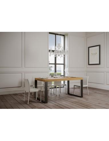 Tavolo Tecno Premium allungabile piano quercia 90x130 allungato 390 telaio Antracite