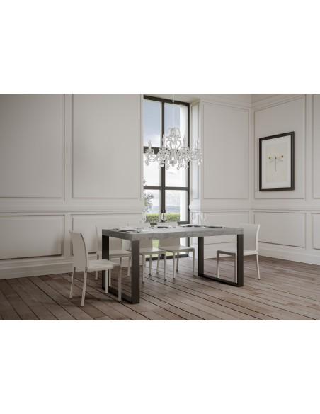 Tavolo Tecno Premium allungabile piano Cemento 90x130 allungato 390 telaio Antracite