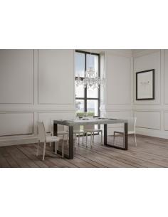 Tavolo Tecno Premium allungabile piano Cemento 90x180 allungato 440 telaio Antracite