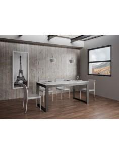 Tavolo Tecno Evolution piano Bianco Frassino 90x120 allungato 90x224 telaio Antracite
