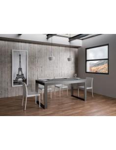 Tavolo Tecno Evolution piano Cemento 90x160 allungato 90x264 telaio Antracite